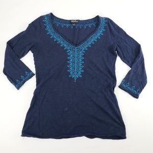 Womens Lucky Brand Embroidered Blue Shirt Sz S